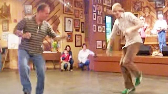 Country boys tear up the dance floor with epic bluegrass