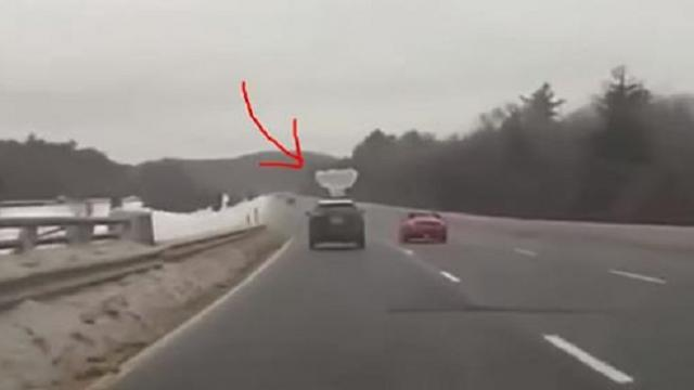 Man follows SUV down busy highway. Captured dash cam footage seconds in goes viral