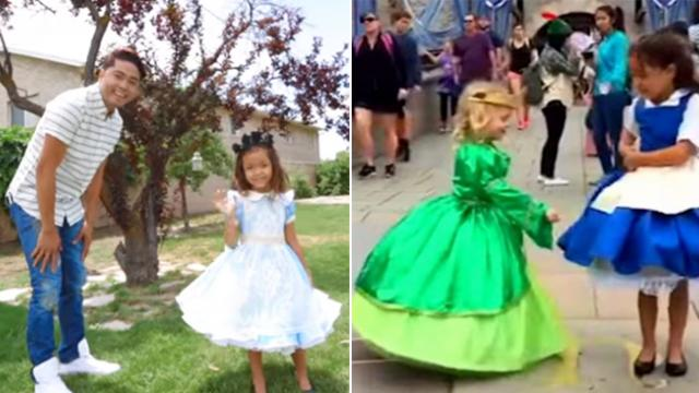 Daddy creates beautiful gown for daughter only when she spins the transformation makes eyes pop