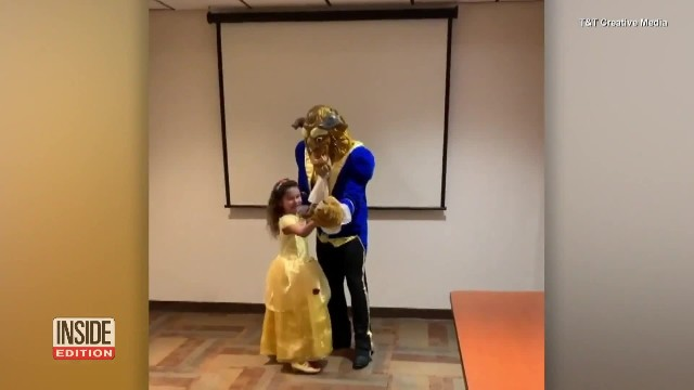 Six-year-old dresses up for dance with 'Beast' but she doesn't know navy dad is under mask