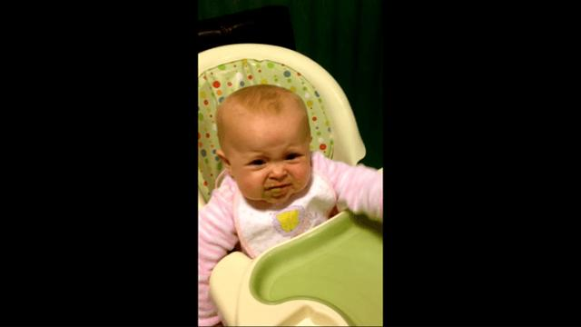 Six month old baby says first words 'I done' after trying peas for the first time