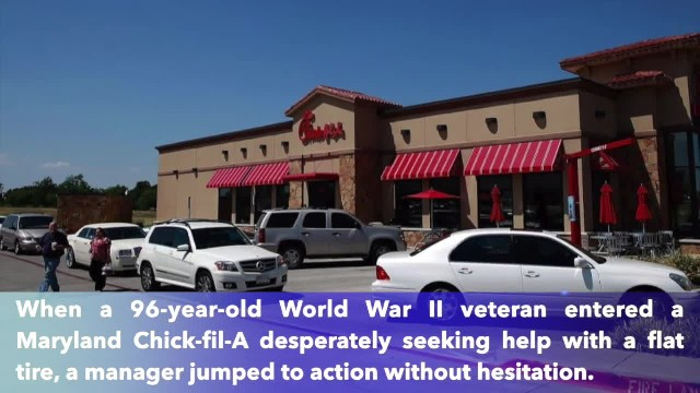 Chick-fil-A manager helps 96-year-old World War II veteran change tire