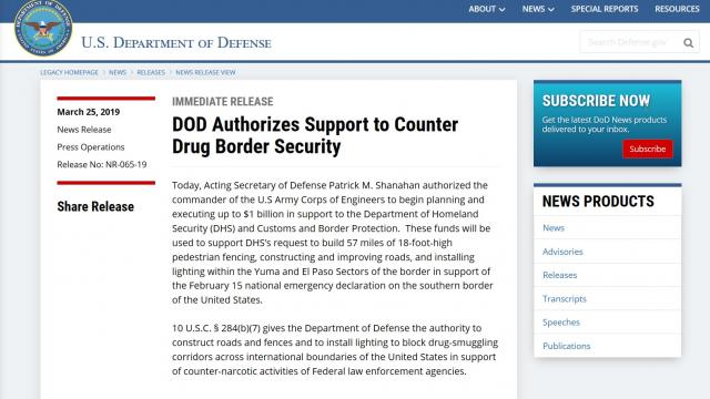 Acting Secretary of Defense authorizes $1 billion for Border security