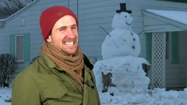Punk driver slams snowman with truck, poetic justice when he learns it's built on huge stump