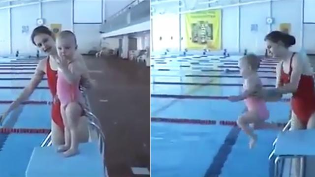 People have mixed feelings about this mother, who throws her 2-year-old kid into the pool