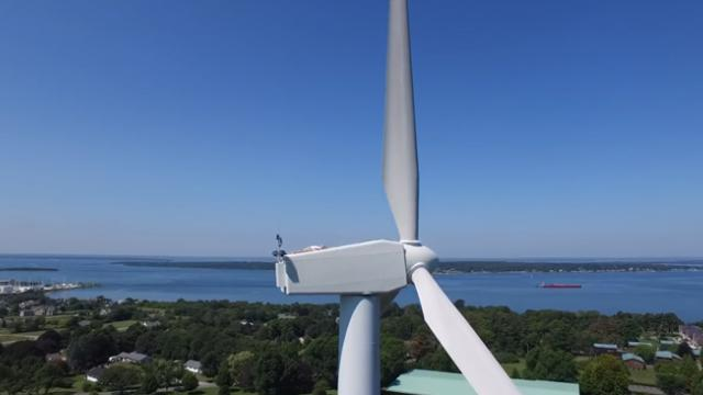 Drone flies over wind turbine capturing rare event on film that has everyone cracking up