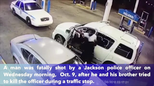 Lone police officer destroys two men trying to kill him in gas station gunfight
