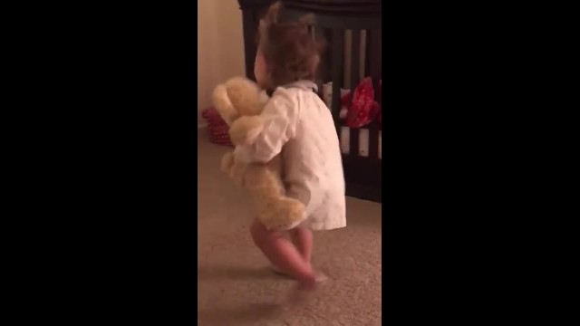 Little Girl Gets Teddy Bear From Deployed Dad, Freaks Out When She Presses It's Hand