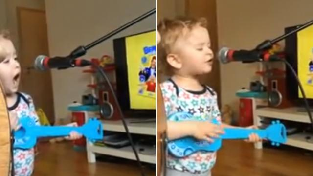 Curly haired 2-year-old grabs the mic, immediately steals the show from mom's boyfriend