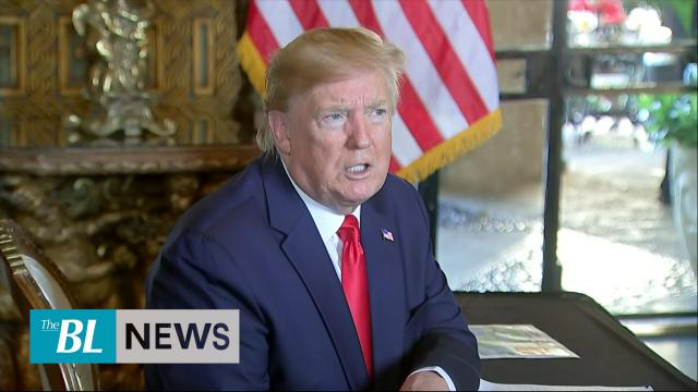 President Trump answers reporters' questions after speaking to U.S. Troops across the globe