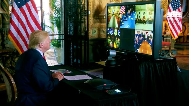 President Trump Participates in a Video Teleconference with Members of the Military