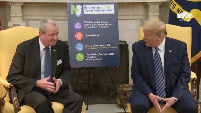 President Trump meets with the governor of New Jersey