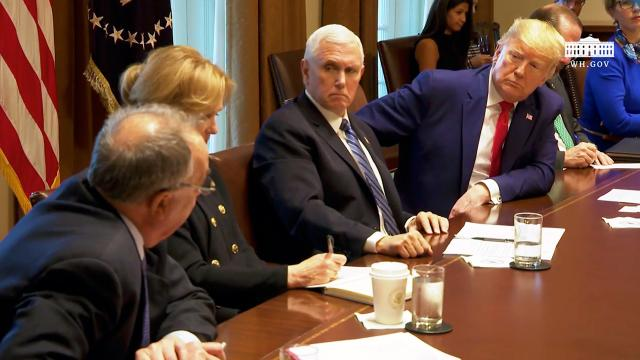 President Trump and members of the Coronavirus task force meet with pharmaceutical executives
