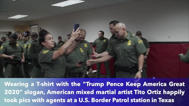 Tito Ortiz wears Trump 2020 campaign shirt while signing handcuffs for Border Patrol