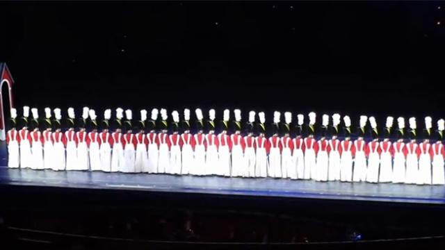 36 toy soldiers stand perfectly still but when they move the audience gasps