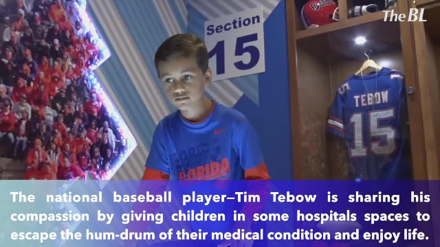 Tim Tebow opens 10th playroom for children's hospital so young patients can forget the illness and e