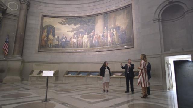First Lady Melania Trump & Sec Carson visit the national archives
