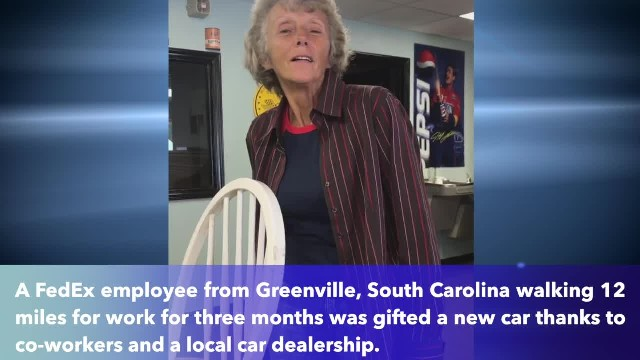 Co-workers surprise woman with car after walking 12 miles a day to work for months