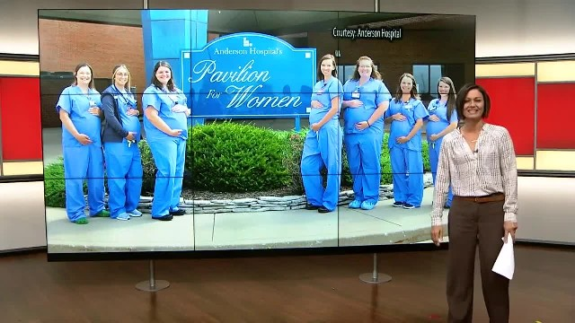 Anderson Hospital in Maryville, Illinois shared a photo of seven pregnant nurses that all work in th