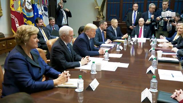 President Trump and Vice President Pence participate in a coronavirus briefing with health insurers