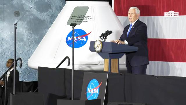 Vice President Pence delivers remarks to NASA Langley research center personnel and guests