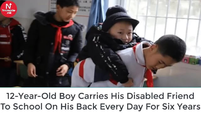 12-Year-Old Chinese Boy Carries His Disabled Friend To School Every Day