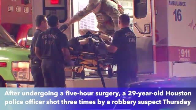 Houston officer walking after being shot 3 times by robbery suspect