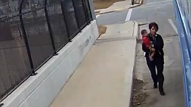Watch as quick-thinking bus driver rescues baby who is, incredibly, walking down the street by himse