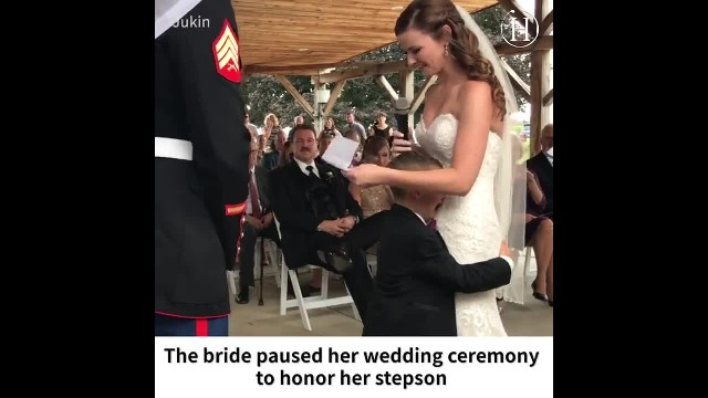 Bride halts wedding mid-ceremony to honor new stepson