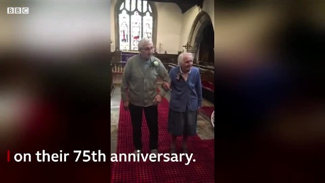 Elderly couple returned to the church where they got married 75 years ago to renew their vows