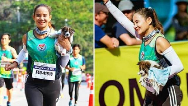 Runner finishes marathon carrying abandoned puppy she rescued on the way