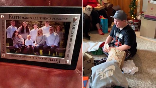 Foster boy gets framed family photo, then reads life-changing note attached.