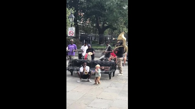 Little Toddler Hears Jazz Band, Grabs Fake Trumpet & Totally Steals The Show