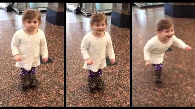 Tiny girl thinks she's at airport to watch planes until mom points and says, -Look right there-