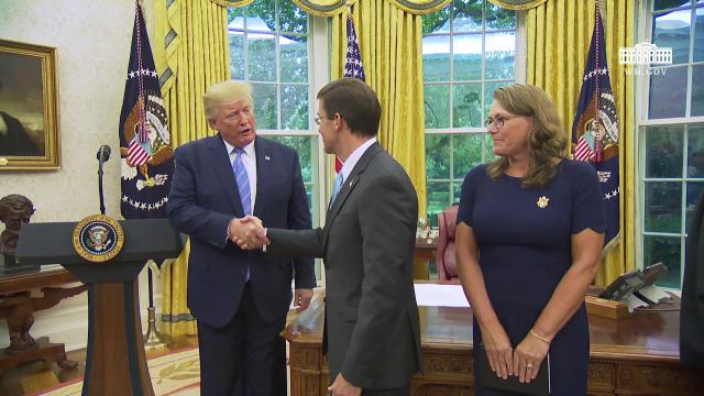 President Trump Participates in the Swearing-In Ceremony for the Secretary of Defense
