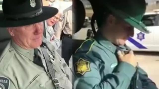 Retiring officer overcome with emotion when he hears cop son's voice during final radio call