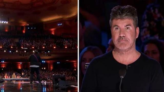 Man faces crowd to confess he's on hit talent show making Simon's eyes pop moment he starts to sing