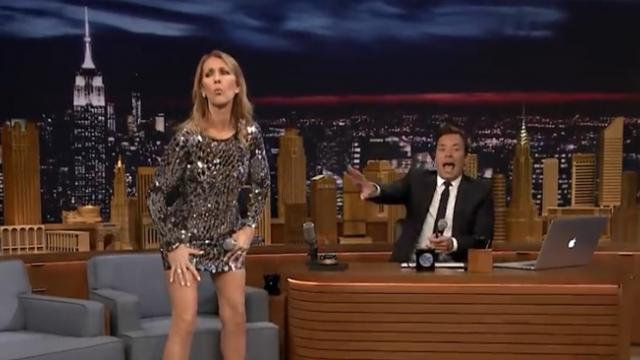 Jimmy asks celine for impression of Michael Jackson has to stop the show as she begins dancing