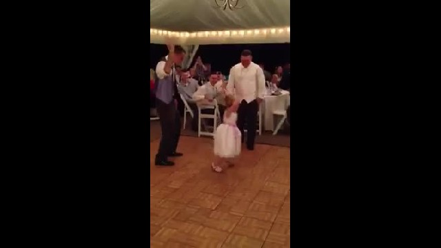 Flower girl dances during wedding reception but crowd loses it when the song switches