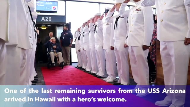 98-year-old USS Arizona survivor gets hero's welcome in return to Hawaii