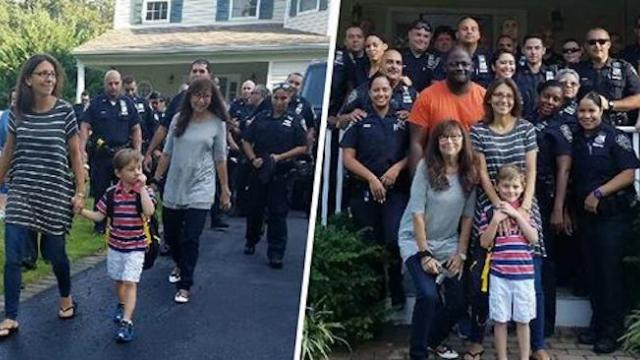 NYPD gives son of fallen officer a special send-off on first day of kindergarten