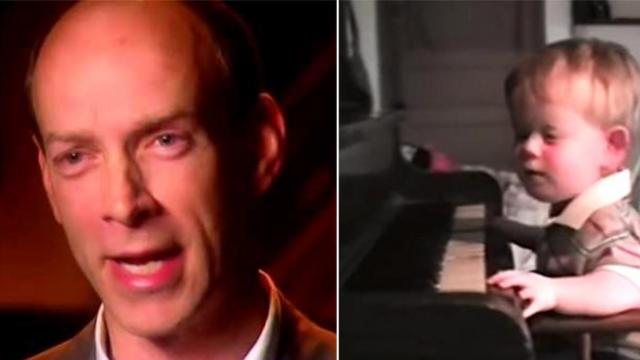 Baby boy born without any eyes sits at piano, his next move has dad running for his camera
