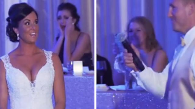 Groom tells bride they've become 'family of 3,' then he points