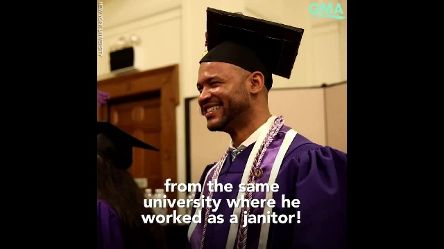 Man graduates with nursing degree from the same college where he started as a janitor