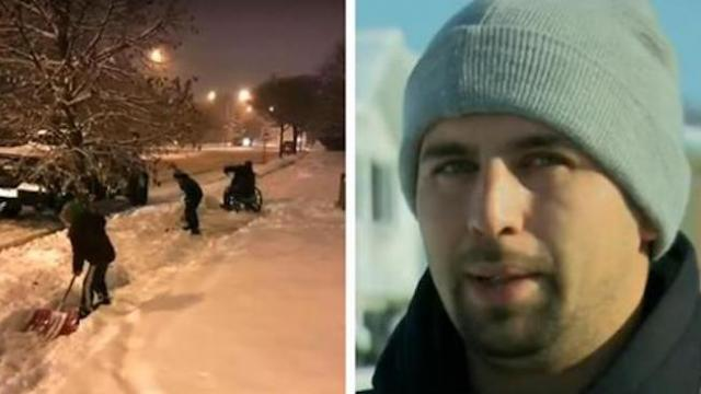 Young boys are shovelling snow on driveway, but then dad notices the man behind them