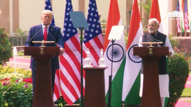 President Trump delivers a joint press statement with the Prime Minister of the republic of India