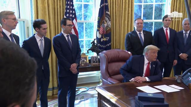 President Trump delivers remarks in the Oval office