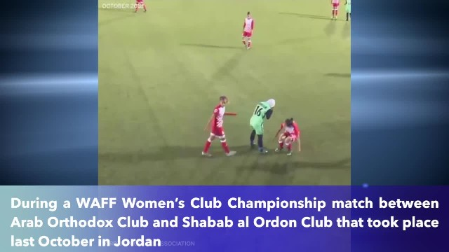 Opponents surrounded a soccer player whose hijab came off, and it's fabulous