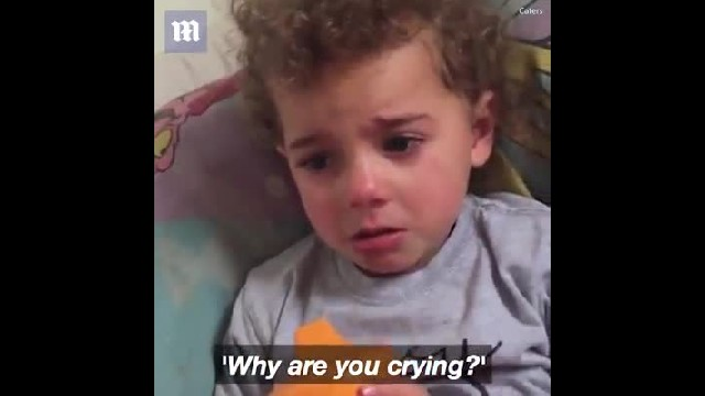 Mom finds toddler in tears, but when she asks why she's crying she can't believe her ears