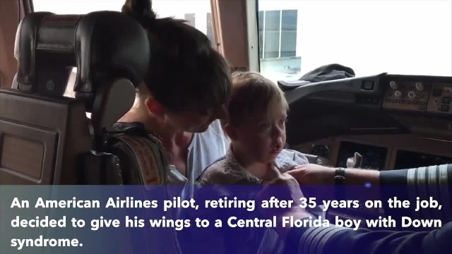 Pilot retiring after 35 years gives his wings to Central Florida toddler who has Down syndrome